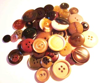 SALE 50 Vintage Mixed Brown and Neutral Buttons