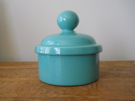 Retro Vohann of California Aqua Green Jar With Lid