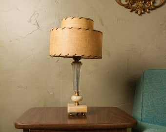 Glass Alabaster Brass table lamp