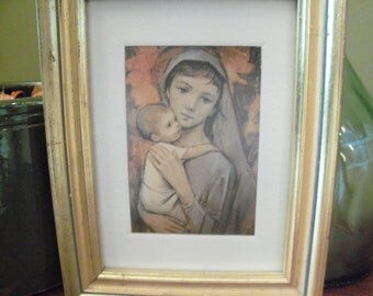 Vintage Nun and Baby Framed and Matted Artwork