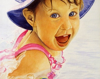 "ACEO Fine Art Print / From Original Watercolor / Featuring Fun in the Pool / Size 2.5""x 3.5'"