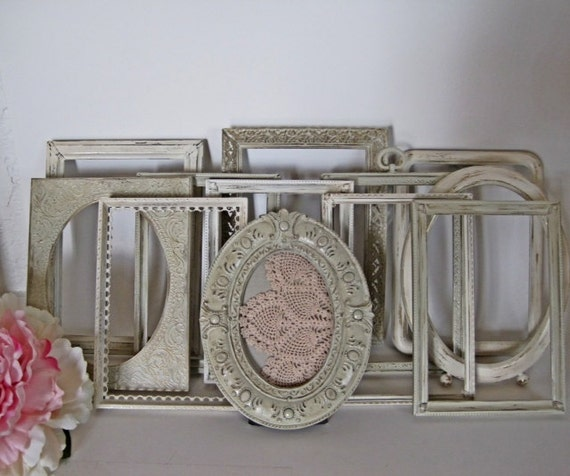 Antique White Wedding Table Number Frames Romantic Vintage Upcycled Set of 12
