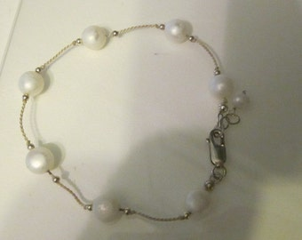 Vintage Sterling Silver Bracelet with Faux Pearls