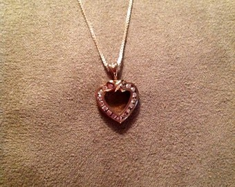 "Vintage Sterling Silver 18"" Chain Necklace with Heart Pendant and Rhinestones"