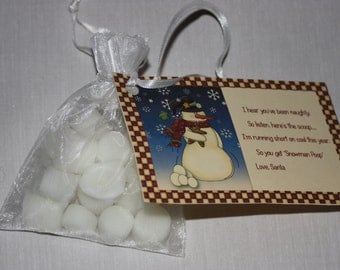 Snowman Poop Tarts - Mini Marshmallows - Snowman Poop Poem - Candle Tarts