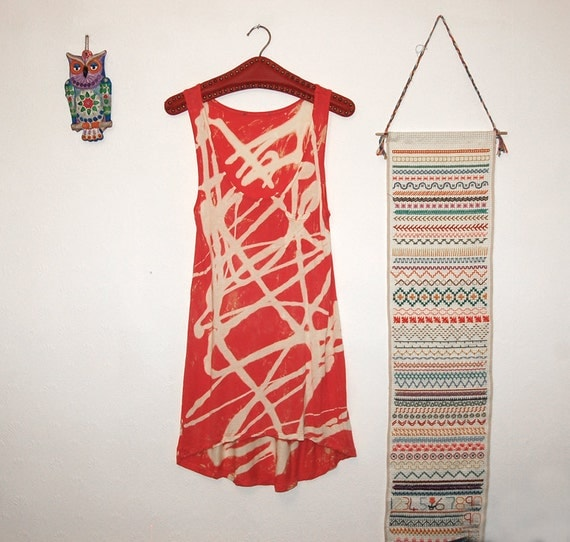 RESERVED FOR JANICE Bleached Red Swing Vest - Top - Bohemian / Hippie - Rock - Upcycled - Red / Pink