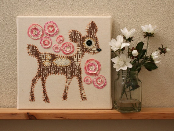 Childrens Wall Decor Canvas : Deer art on canvas kids wall childrens baby by