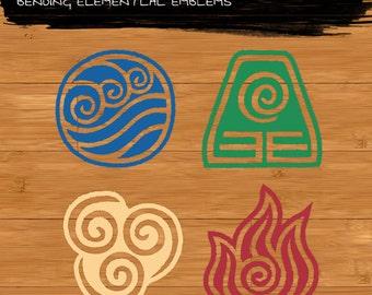 Avatar The Last Air Bender - Complete Elemental Vinyl Decal Set
