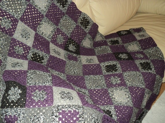 Purple & Grey Granny Square Afghan