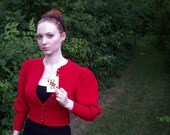 Queen of Hearts Sweater / Red Sweater / Virgin Wool / Leg-o-Mutton Sleeve / German Sweater Small