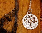 Silver Tree of Life Necklace - Round Sterling Silver Pendant with a pierced tree design.