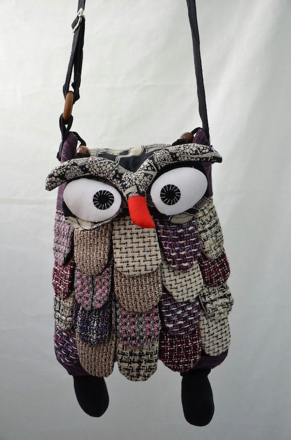 Large - Dark Purple Thai Unique Hip Bag Handmade Owl Patchwork Crossbody Bag Messenger C3718