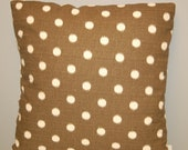 18 inch Premier Prints Ikat Dots Brown Ivory Pillow Cover, Decorative Sofa Pillow, invisible zipper closure
