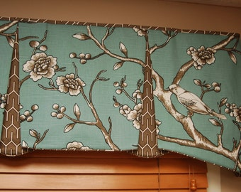"""Made to Order EMMA Hidden Rod Pocket Valance fits 56""""- 80"""" window, contemporary valance, your fabric, my LABOR and lining"""