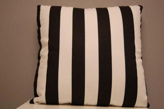 Black White Stripe Decorative 16 X 16 Pillow Cover