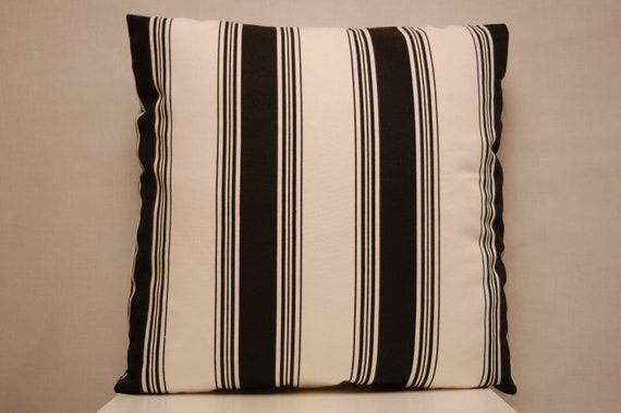 18 Inch Black White Stripe Decorative Pillow Cover