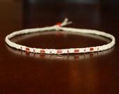 Orange Glass Beaded Thin Hemp Choker Necklace for Her - Womens Choker Teen Girl Gifts for Girlfriend Jewelry for Women - Tween Custom Choker