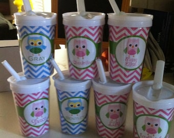 Owl Sippy Cup with Straw, Children's Owl Cup, Children's Sippy Cup,, Toddler Cup, Girl Owl Cup, Boy Owl Cup