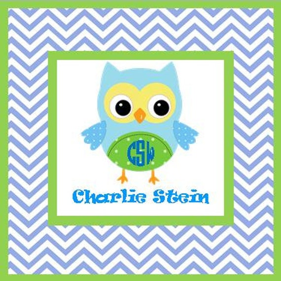 Boy Owl Gift Enclosures -Set of 24 gift card enclosure cards or stickers.