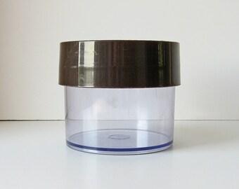 Danish Modern container, Erik Kold Plast container, lidded plastic jar, Made in Denmark, vintage 70s, clear plastic box, storage jar