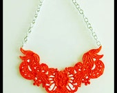Orange Lace Bib Statement Necklace - 18 inch