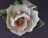 Vintage Capodimonte Porcelain Rose in Pale Ballerina Pink