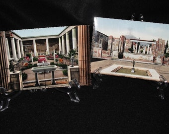 Never Used Set Two VINTAGE ITALIAN POSTCARDS in color - Pompei - Casa del vetti and Casa del fauno - Picturesque and Frameable