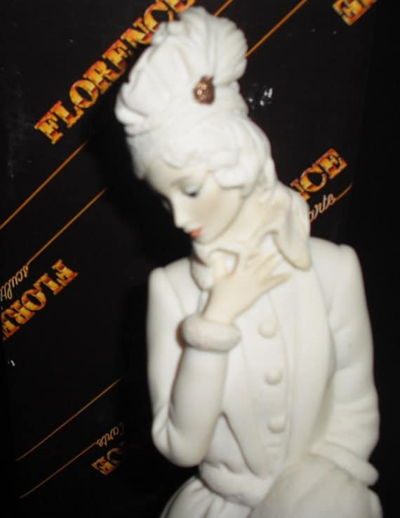 Bisque Figurine of Lady with a Muff by Giuseppe Armani - 1987 Item no. 408F in Excellent Vintage Condition from Italy in original box