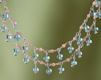 Pink Coral and Appatite Long Necklace