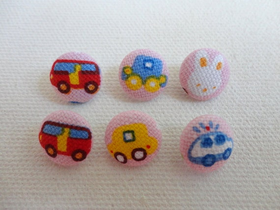 "Fabric Covered Buttons - traffic theme -100% cotton 6 small Fabric buttons,rabbit,6 buttons x 1.3 cm (0.51'' "") in diameter"