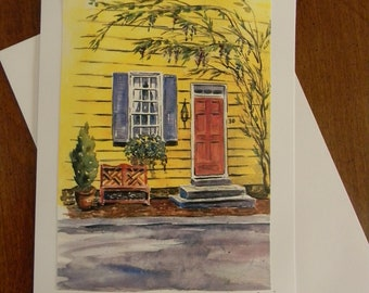 Colonial Annapolis Maryland Artwork Watercolor Prints Note Card by Sally Tia Crisp