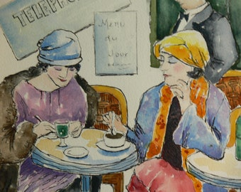 "Vibrant Paris Art Watercolor Print 8.5"" x 11"" Sophisticated Ladies 1930's by Sally T. Crisp"