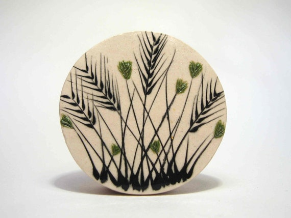 Wild green flowers with spikes ceramic brooch