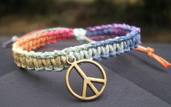 Handmade Rainbow Hemp Bracelet With Peace Symbol Charm (sliding knot closure)