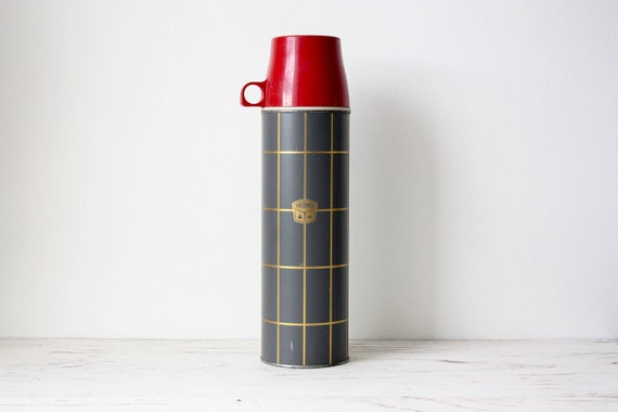 Vintage Thermos Brand - 1970s Red Black Gold