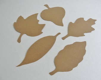 Paper Leaf Place Cards Large 4 Inch Autumn Paper Leaves