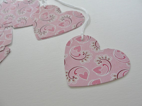 Wedding Heart Gift Tags : Heart Gift Tags, Wedding Shower Gift Tags, Decorative Pink Paper Heart ...