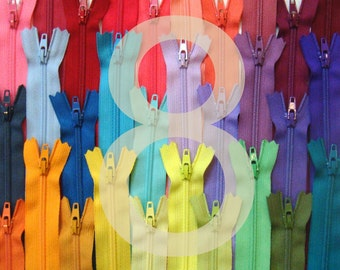 8 Inch YKK Zippers - 25 Pieces - Choose Your Colors