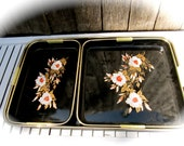 Vintage Black and Flowered Serving Trays. Made in Toyo Japan.