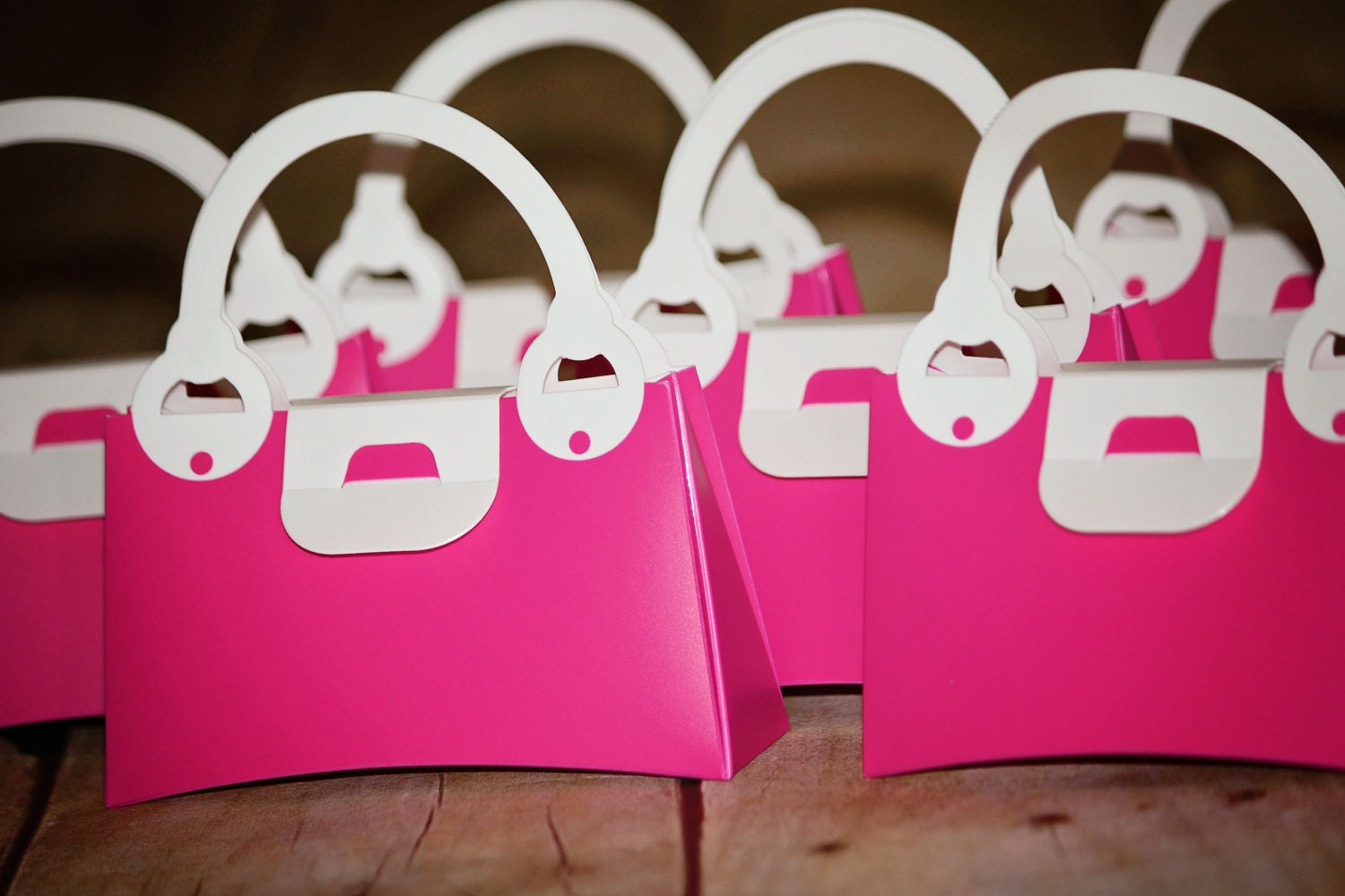 12 Pink Plastic Purse Party Favor Boxes Pink By