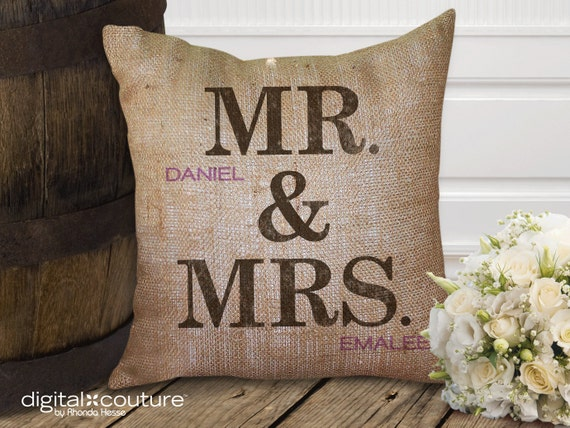 Mr Amp Mrs Burlap Pillow By Digitalcoutureshop On Etsy