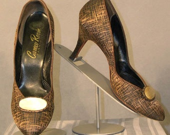 s62 Bronze & Black 1950's Vintage Shoes 9