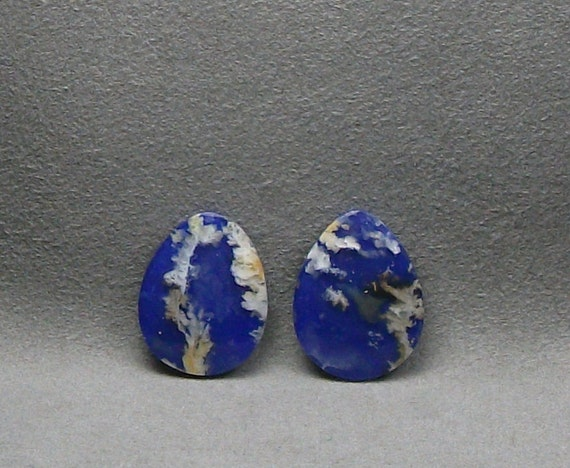 Regency Plume Agate with Lapis Lazuli Cabochon Doublet Matched Pair