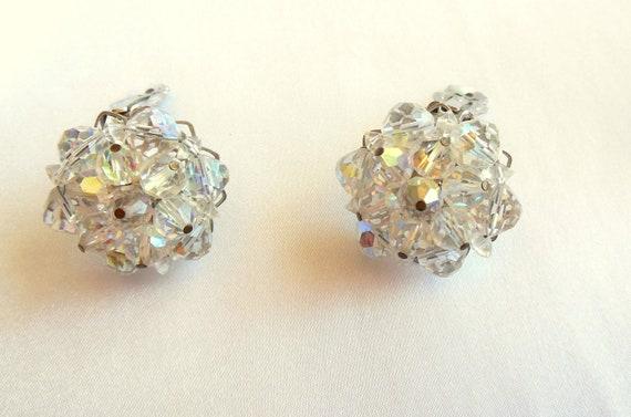 Vintage Earrings Clear Crystal Rhinestone Clusters Clip On Style