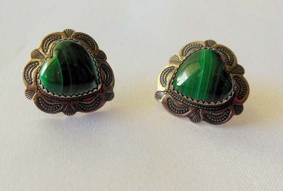 Vintage Earrings Zuni Sterling Silver with Green Malachite Hearts