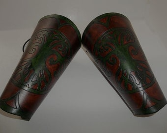 Leather Bracers - Tree of Life (Emerald Green on Brown)