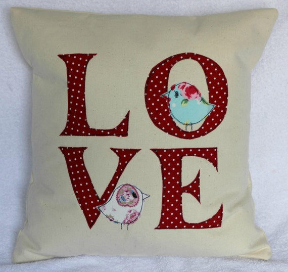 Shabby Chic, retro,  red polka dot love appplique cushion pillow cover - red, blue, white, pink, 14 inches