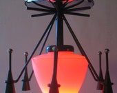 Homemade upcycled gothic starburst ceiling hanging pendant lamp/light for beautiful mood lighting.