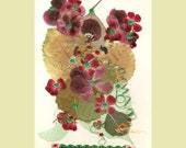 Collage Floral Art Luli 092- Pressed flower art- Collage art- autumn  leaves- Floral with  sequins,stitching