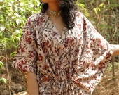 Oh Abby Cream Red Organic Cotton Kaftan Perfect as a long caftan dress, loungewear, beachwear, gift for bridesmaids, moms and to be moms